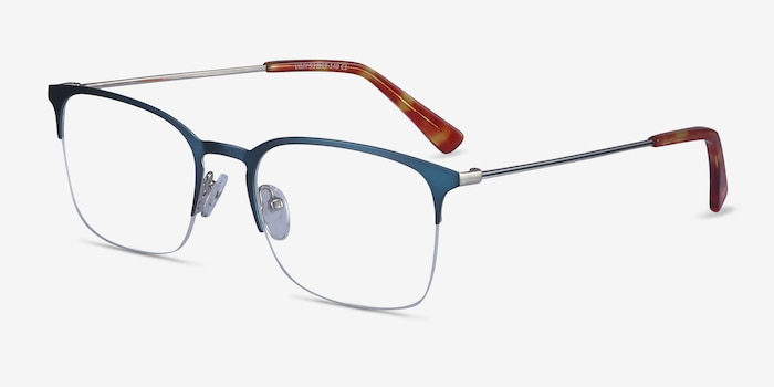 Vimy Blue Metal Eyeglass Frames from EyeBuyDirect, Angle View