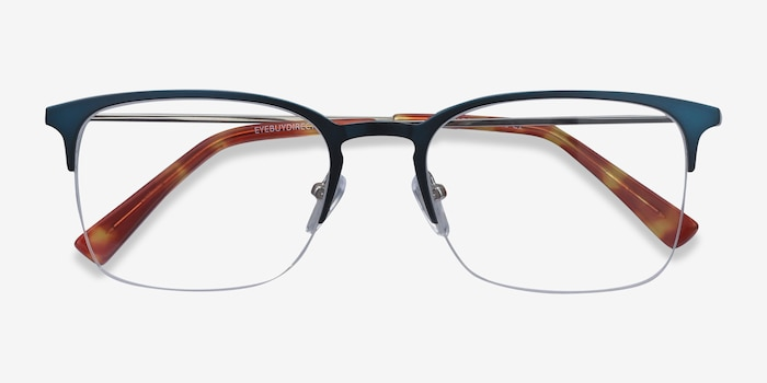 Vimy Blue Metal Eyeglass Frames from EyeBuyDirect, Closed View