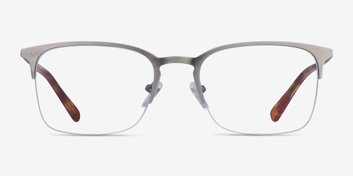 Vimy Gunmetal Metal Eyeglass Frames from EyeBuyDirect, Front View