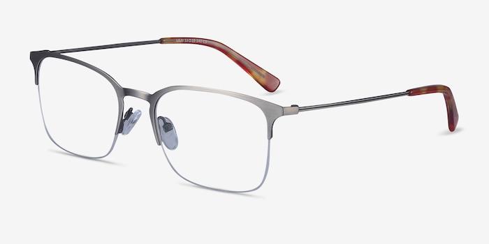 Vimy Gunmetal Metal Eyeglass Frames from EyeBuyDirect, Angle View