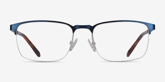 Valery Blue Metal Eyeglass Frames from EyeBuyDirect, Front View