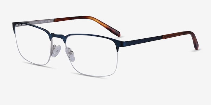 Valery Blue Metal Eyeglass Frames from EyeBuyDirect, Angle View