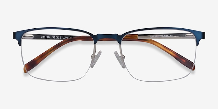 Valery Blue Metal Eyeglass Frames from EyeBuyDirect, Closed View