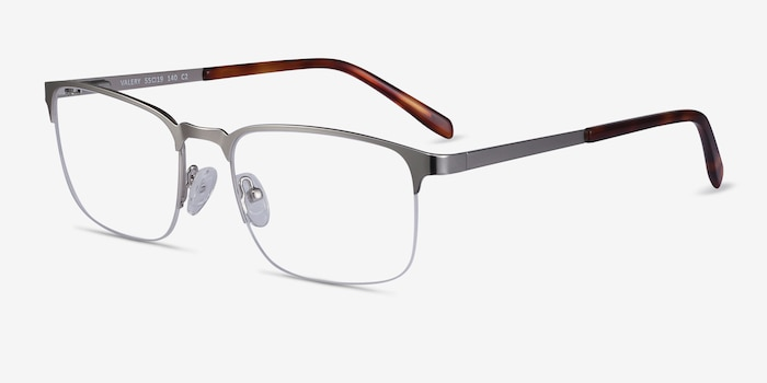 Valery Silver Metal Eyeglass Frames from EyeBuyDirect, Angle View