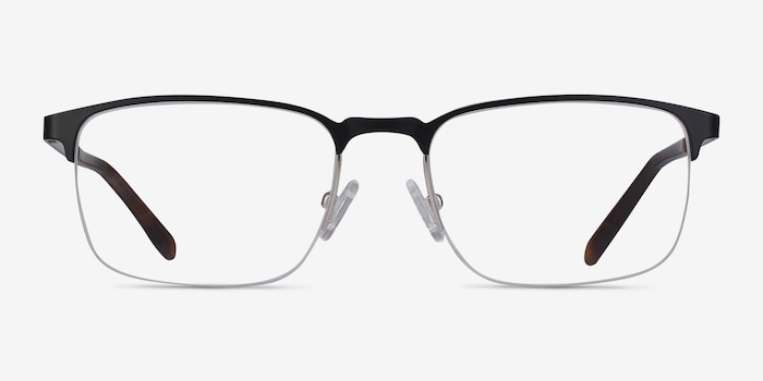 Valery Black Metal Eyeglass Frames from EyeBuyDirect, Front View