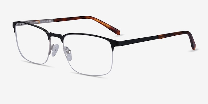 Valery Black Metal Eyeglass Frames from EyeBuyDirect, Angle View
