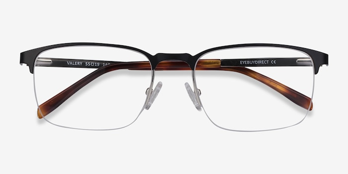 Valery Black Metal Eyeglass Frames from EyeBuyDirect, Closed View
