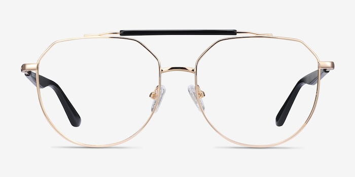 Coxon Golden Black Metal Eyeglass Frames from EyeBuyDirect, Front View