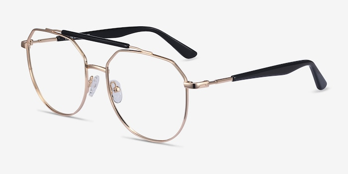 Coxon Golden Black Metal Eyeglass Frames from EyeBuyDirect, Angle View