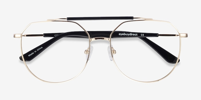 Coxon Golden Black Metal Eyeglass Frames from EyeBuyDirect, Closed View