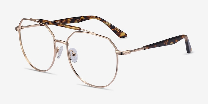 Coxon Golden Tortoise Metal Eyeglass Frames from EyeBuyDirect, Angle View
