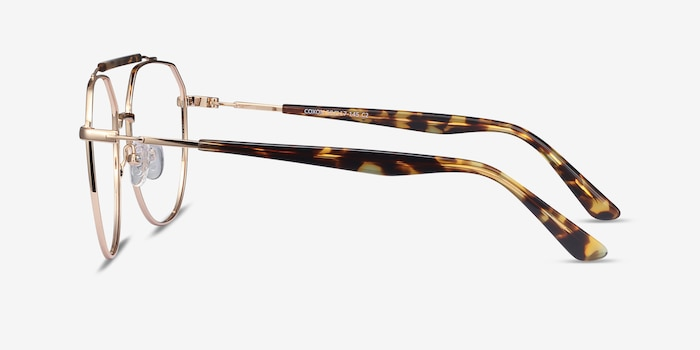 Coxon Golden Tortoise Metal Eyeglass Frames from EyeBuyDirect, Side View