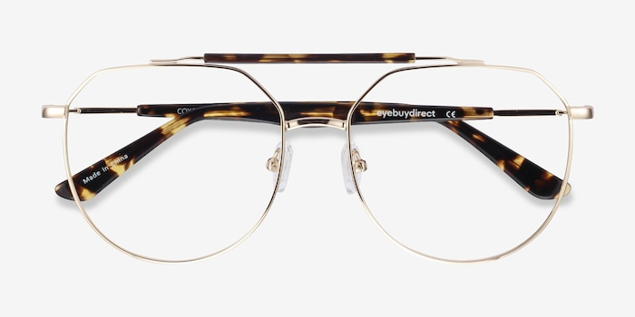 Coxon Golden Tortoise Metal Eyeglass Frames from EyeBuyDirect, Closed View