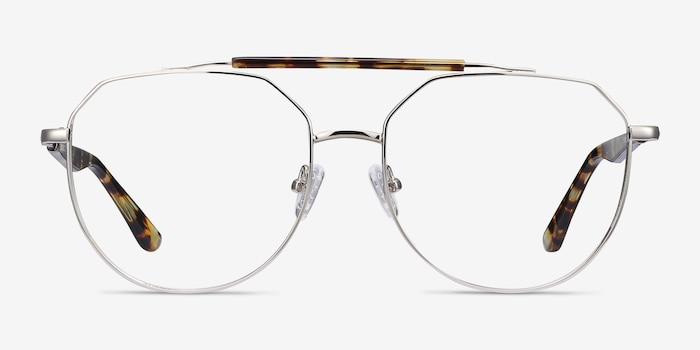 Coxon Silver Tortoise Metal Eyeglass Frames from EyeBuyDirect, Front View