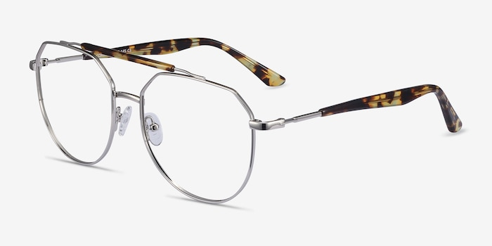 Coxon Silver Tortoise Metal Eyeglass Frames from EyeBuyDirect, Angle View
