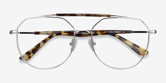 Coxon Silver Tortoise Metal Eyeglass Frames from EyeBuyDirect, Closed View