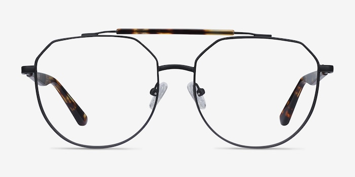 Coxon Black Tortoise Metal Eyeglass Frames from EyeBuyDirect, Front View