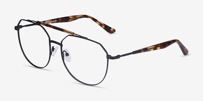 Coxon Black Tortoise Metal Eyeglass Frames from EyeBuyDirect, Angle View