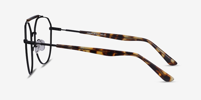 Coxon Black Tortoise Metal Eyeglass Frames from EyeBuyDirect, Side View