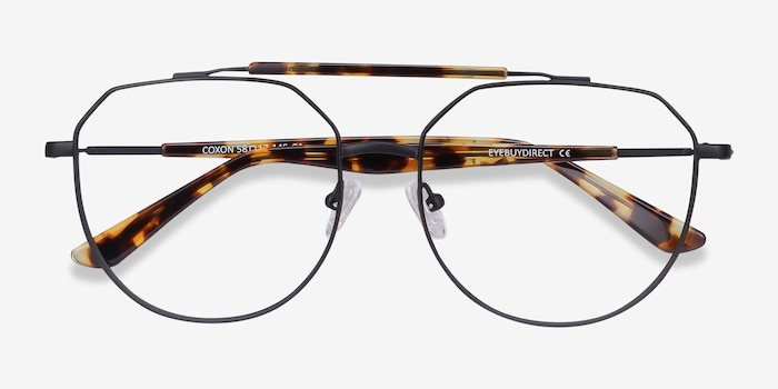 Coxon Black Tortoise Metal Eyeglass Frames from EyeBuyDirect, Closed View