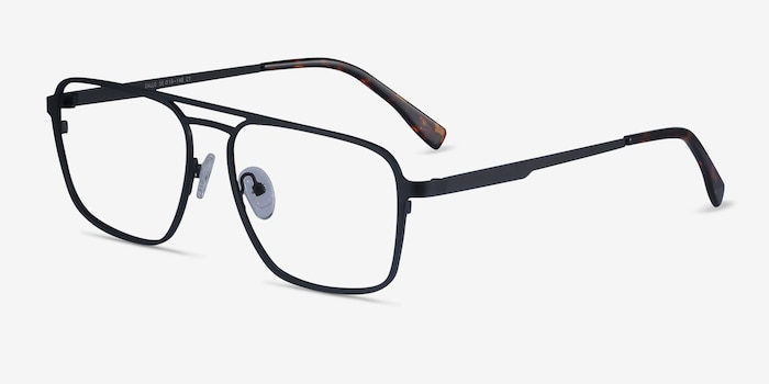Gallo Black Metal Eyeglass Frames from EyeBuyDirect, Angle View