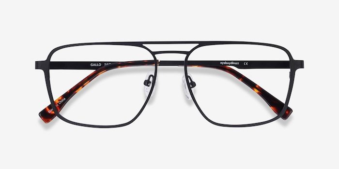 Gallo Black Metal Eyeglass Frames from EyeBuyDirect, Closed View