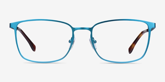 Strategy Blue Metal Eyeglass Frames from EyeBuyDirect, Front View