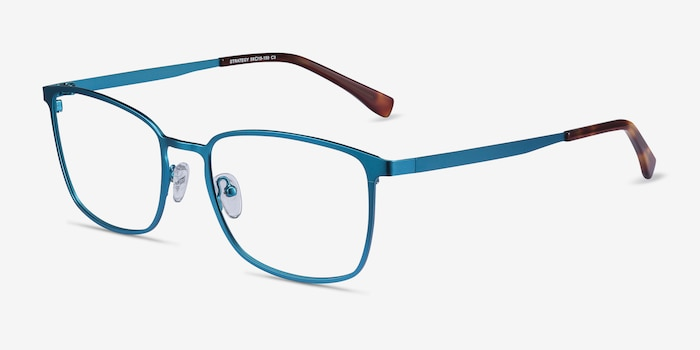 Strategy Blue Metal Eyeglass Frames from EyeBuyDirect, Angle View