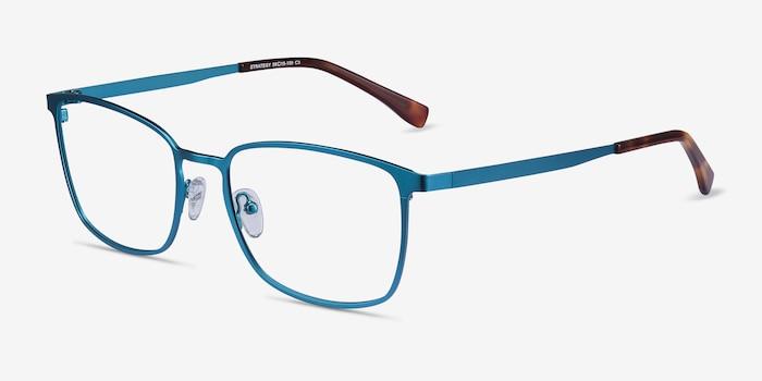 Strategy Bleu Métal Montures de Lunettes d'EyeBuyDirect, Vue d'Angle