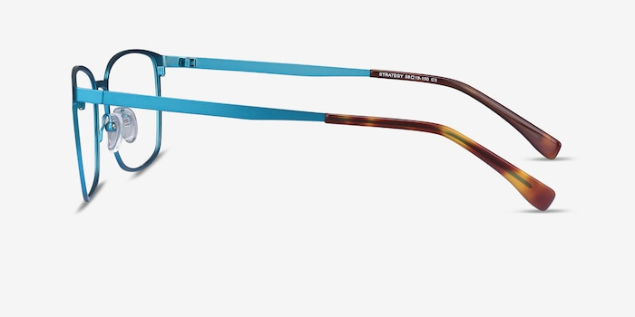 Strategy Blue Metal Eyeglass Frames from EyeBuyDirect, Side View
