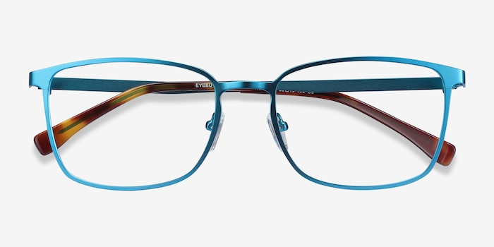 Strategy Blue Metal Eyeglass Frames from EyeBuyDirect, Closed View