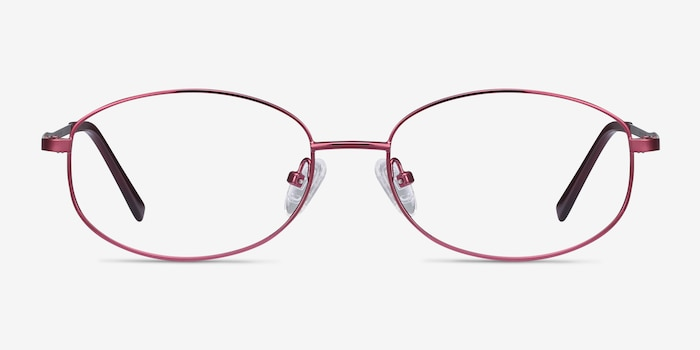 Embrace Burgundy Metal Eyeglass Frames from EyeBuyDirect, Front View