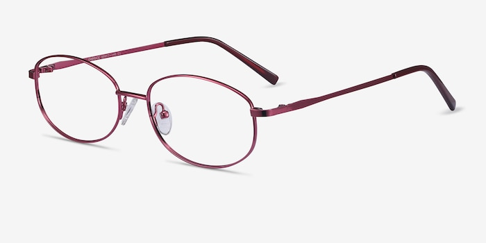 Embrace Burgundy Metal Eyeglass Frames from EyeBuyDirect, Angle View