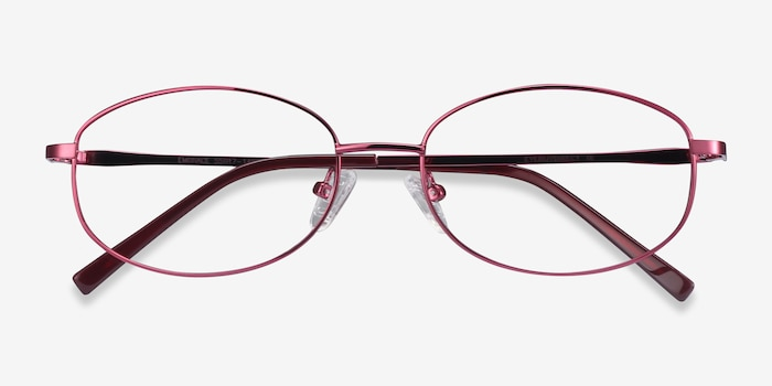 Embrace Burgundy Metal Eyeglass Frames from EyeBuyDirect, Closed View