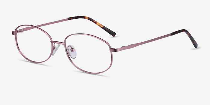 Embrace Pink Metal Eyeglass Frames from EyeBuyDirect, Angle View