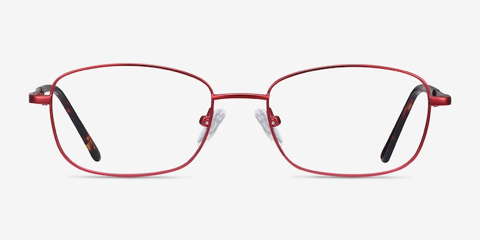 Path Burgundy Metal Eyeglass Frames from EyeBuyDirect, Front View