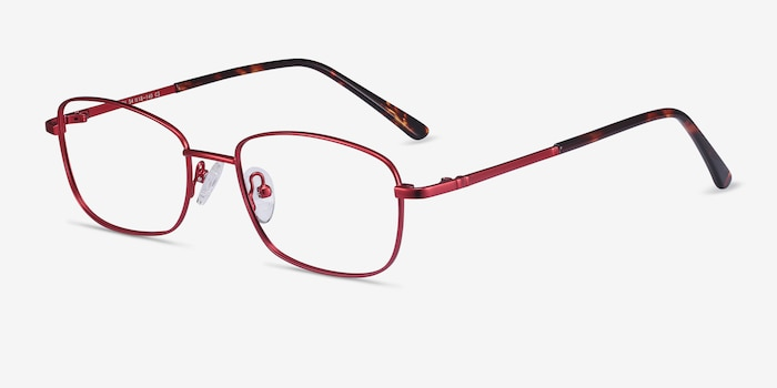 Path Burgundy Metal Eyeglass Frames from EyeBuyDirect, Angle View