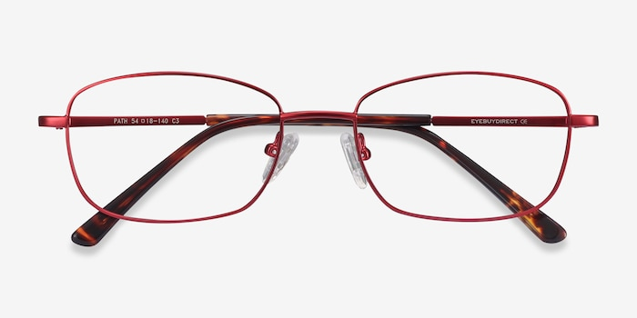 Path Burgundy Metal Eyeglass Frames from EyeBuyDirect, Closed View