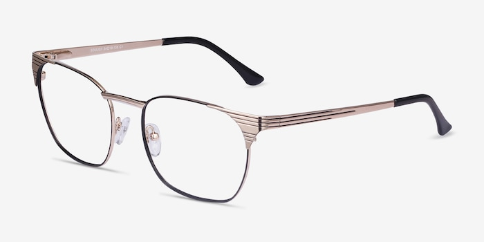 Soulist Black Golden Metal Eyeglass Frames from EyeBuyDirect, Angle View