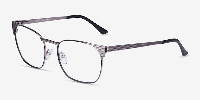 Soulist Black Silver Metal Eyeglass Frames from EyeBuyDirect, Angle View