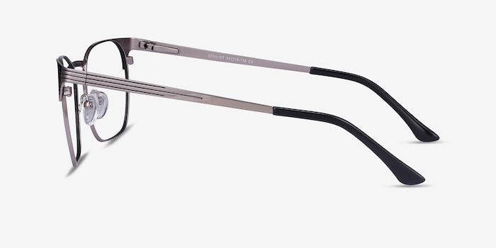 Soulist Black Silver Metal Eyeglass Frames from EyeBuyDirect, Side View
