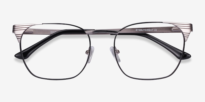 Soulist Black Silver Metal Eyeglass Frames from EyeBuyDirect, Closed View