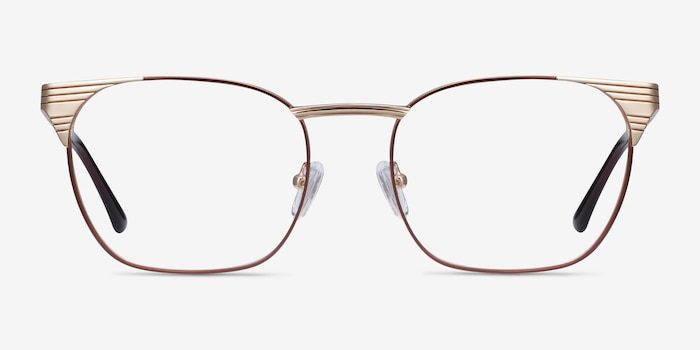 Soulist Brown Golden Metal Eyeglass Frames from EyeBuyDirect, Front View