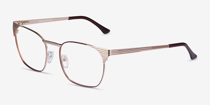 Soulist Brown Golden Metal Eyeglass Frames from EyeBuyDirect, Angle View