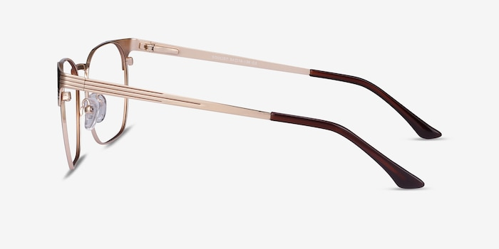 Soulist Brown Golden Metal Eyeglass Frames from EyeBuyDirect, Side View