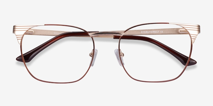 Soulist Brown Golden Metal Eyeglass Frames from EyeBuyDirect, Closed View