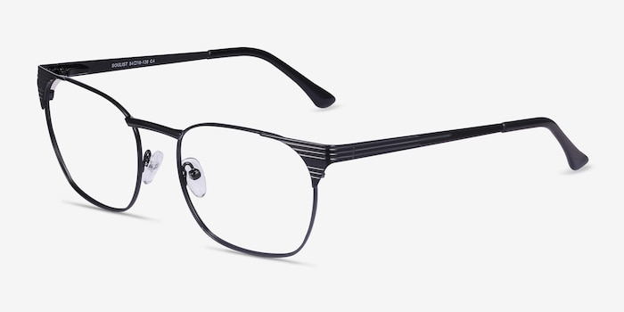 Soulist Black Metal Eyeglass Frames from EyeBuyDirect, Angle View