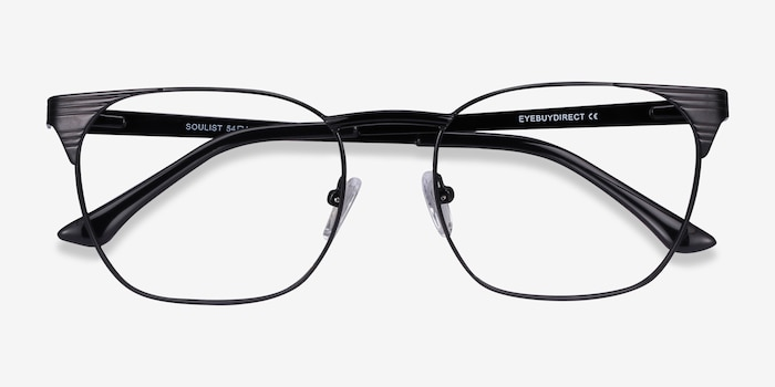 Soulist Black Metal Eyeglass Frames from EyeBuyDirect, Closed View