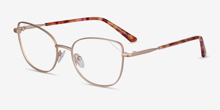 Moment Gold Metal Eyeglass Frames from EyeBuyDirect, Angle View