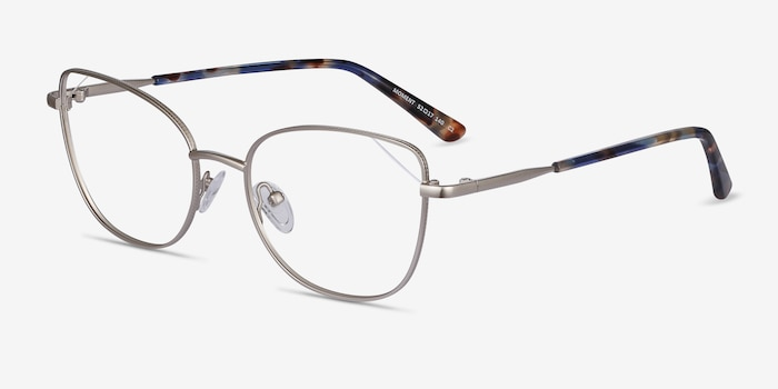 Moment Silver Metal Eyeglass Frames from EyeBuyDirect, Angle View